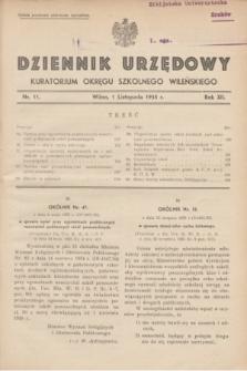 Dziennik Urzędowy Kuratorjum Okręgu Szkolnego Wileńskiego. R.12, nr 11 (1 listopada 1935)