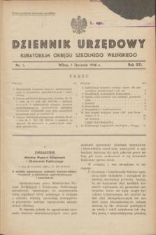 Dziennik Urzędowy Kuratorjum Okręgu Szkolnego Wileńskiego. R.13, nr 1 (1 stycznia 1936)