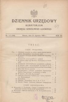 Dziennik Urzędowy Kuratorjum Okręgu Szkolnego Łuckiego. R.12, nr 1/2 (31 stycznia 1935) = nr 116
