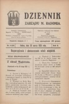Dziennik Zarządu M. Radomia. R.2, nr 4 (20 marca 1925) = nr 18