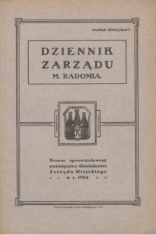 Dziennik Zarządu M. Radomia. Numer sprawozdawczy poświęcony działalności Zarządu Miejskiego w r. 1924