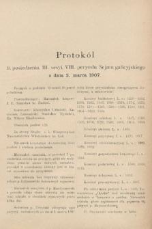 [Kadencja VIII, sesja III, pos.9] Protokoły z III. sesji VIII. peryodu Sejmu Krajowego Królestwa Galicyi i Lodomeryi wraz z Wielkiem Księstwem Krakowskiem w roku 1907. Tom I. Protokół9