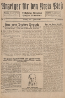 Anzeiger für den Kreis Pleß : Nikolaier Anzeiger : Plesser Stadtblatt. Jg.81, Nr. 2 (3 Januar 1932)