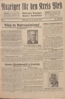 Anzeiger für den Kreis Pleß : Nikolaier Anzeiger : Plesser Stadtblatt. Jg.81, Nr. 9 (20 Januar 1932)