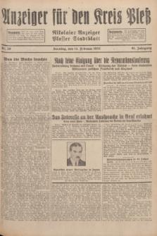 Anzeiger für den Kreis Pleß : Nikolaier Anzeiger : Plesser Stadtblatt. Jg.81, Nr. 20 (14 Februar 1932)