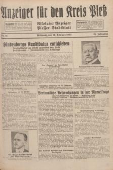 Anzeiger für den Kreis Pleß : Nikolaier Anzeiger : Plesser Stadtblatt. Jg.81, Nr. 21 (17 Februar 1932)