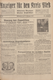 Anzeiger für den Kreis Pleß : Nikolaier Anzeiger : Plesser Stadtblatt. Jg.81, Nr. 24 (24 Februar 1932)