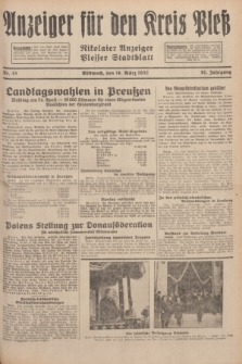 Anzeiger für den Kreis Pleß : Nikolaier Anzeiger : Plesser Stadtblatt. Jg.81, Nr. 33 (16 März 1932)