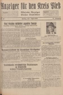 Anzeiger für den Kreis Pleß : Nikolaier Anzeiger : Plesser Stadtblatt. Jg.81, Nr. 40 (1 April 1932)