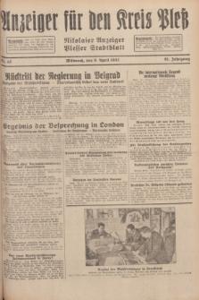 Anzeiger für den Kreis Pleß : Nikolaier Anzeiger : Plesser Stadtblatt. Jg.81, Nr. 42 (6 April 1932)