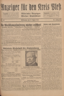 Anzeiger für den Kreis Pleß : Nikolaier Anzeiger : Plesser Stadtblatt. Jg.81, Nr. 45 (13 April 1932)