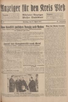 Anzeiger für den Kreis Pleß : Nikolaier Anzeiger : Plesser Stadtblatt. Jg.81, Nr. 47 (17 April 1932)