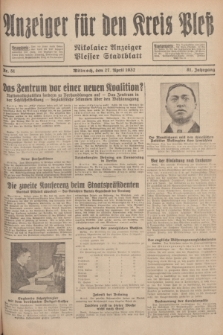 Anzeiger für den Kreis Pleß : Nikolaier Anzeiger : Plesser Stadtblatt. Jg.81, Nr. 51 (27 April 1932)