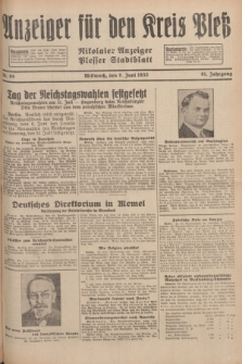 Anzeiger für den Kreis Pleß : Nikolaier Anzeiger : Plesser Stadtblatt. Jg.81, Nr. 68 (8 Juni 1932)
