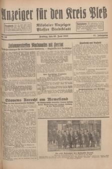 Anzeiger für den Kreis Pleß : Nikolaier Anzeiger : Plesser Stadtblatt. Jg.81, Nr. 69 (10 Juni 1932)