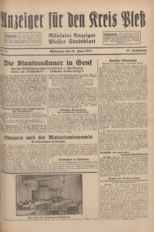 Anzeiger für den Kreis Pleß : Nikolaier Anzeiger : Plesser Stadtblatt. Jg.81, Nr. 71 (15 Juni 1932)