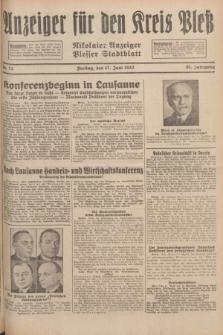Anzeiger für den Kreis Pleß : Nikolaier Anzeiger : Plesser Stadtblatt. Jg.81, Nr. 72 (17 Juni 1932)