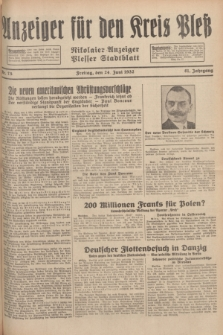 Anzeiger für den Kreis Pleß : Nikolaier Anzeiger : Plesser Stadtblatt. Jg.81, Nr. 75 (24 Juni 1932)