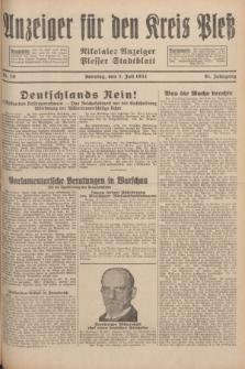 Anzeiger für den Kreis Pleß : Nikolaier Anzeiger : Plesser Stadtblatt. Jg.81, Nr. 79 (3 Juli 1932)