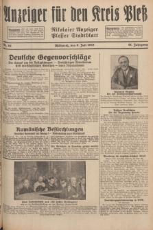 Anzeiger für den Kreis Pleß : Nikolaier Anzeiger : Plesser Stadtblatt. Jg.81, Nr. 80 (6 Juli 1932)