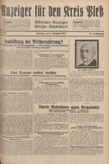 Anzeiger für den Kreis Pleß : Nikolaier Anzeiger : Plesser Stadtblatt. Jg.81, Nr. 93 (5 August 1932)