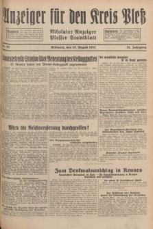 Anzeiger für den Kreis Pleß : Nikolaier Anzeiger : Plesser Stadtblatt. Jg.81, Nr. 95 (10 August 1932)