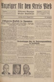 Anzeiger für den Kreis Pleß : Nikolaier Anzeiger : Plesser Stadtblatt. Jg.81, Nr. 96 (12 August 1932)
