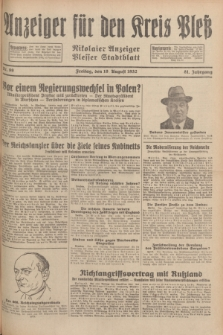 Anzeiger für den Kreis Pleß : Nikolaier Anzeiger : Plesser Stadtblatt. Jg.81, Nr. 99 (19 August 1932)