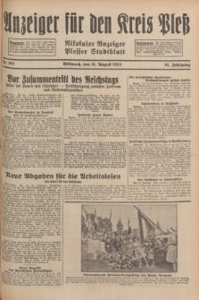 Anzeiger für den Kreis Pleß : Nikolaier Anzeiger : Plesser Stadtblatt. Jg.81, Nr. 104 (31 August 1932)