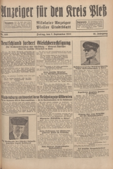 Anzeiger für den Kreis Pleß : Nikolaier Anzeiger : Plesser Stadtblatt. Jg.81, Nr. 105 (2 September 1932)