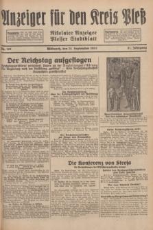 Anzeiger für den Kreis Pleß : Nikolaier Anzeiger : Plesser Stadtblatt. Jg.81, Nr. 110 (14 September 1932)