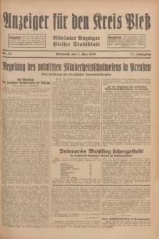 Anzeiger für den Kreis Pleß : Nikolaier Anzeiger : Plesser Stadtblatt. Jg.77, Nr. 53 (2 Mai 1928)