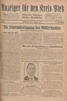 Anzeiger für den Kreis Pleß : Nikolaier Anzeiger : Plesser Stadtblatt. Jg.77, Nr. 95 (8 August 1928)