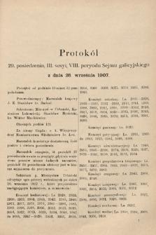 [Kadencja VIII, sesja III, pos.29] Protokoły z III. sesji VIII. peryodu Sejmu Krajowego Królestwa Galicyi i Lodomeryi wraz z Wielkiem Księstwem Krakowskiem w roku 1907. Tom II. Protokół29