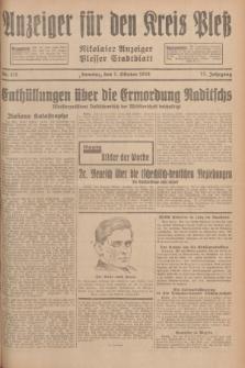 Anzeiger für den Kreis Pleß : Nikolaier Anzeiger : Plesser Stadtblatt. Jg.77, Nr. 121 (7 Oktober 1928)