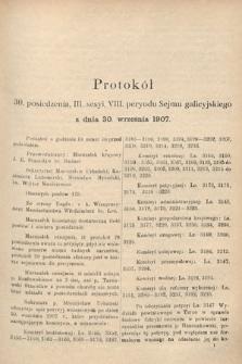 [Kadencja VIII, sesja III, pos.30] Protokoły z III. sesji VIII. peryodu Sejmu Krajowego Królestwa Galicyi i Lodomeryi wraz z Wielkiem Księstwem Krakowskiem w roku 1907. Tom II. Protokół30