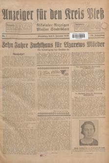 Anzeiger für den Kreis Pleß : Nikolaier Anzeiger : Plesser Stadtblatt. Jg.78, Nr. 1 (1 Januar 1929)
