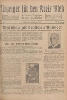 Anzeiger für den Kreis Pleß : Nikolaier Anzeiger : Plesser Stadtblatt. Jg.78, Nr. 14 (1 Februar 1929)