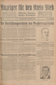 Anzeiger für den Kreis Pleß : Nikolaier Anzeiger : Plesser Stadtblatt. Jg.78, Nr. 17 (8 Februar 1929)
