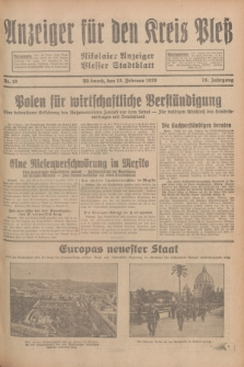 Anzeiger für den Kreis Pleß : Nikolaier Anzeiger : Plesser Stadtblatt. Jg.78, Nr. 19 (13 Februar 1929)