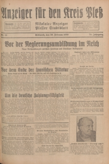 Anzeiger für den Kreis Pleß : Nikolaier Anzeiger : Plesser Stadtblatt. Jg.78, Nr. 22 (20 Februar 1929)