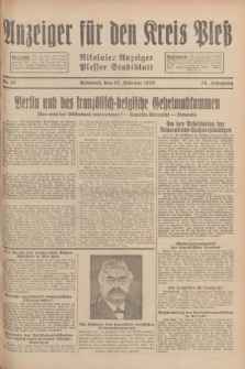 Anzeiger für den Kreis Pleß : Nikolaier Anzeiger : Plesser Stadtblatt. Jg.78, Nr. 25 (27 Februar 1929)