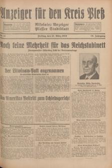 Anzeiger für den Kreis Pleß : Nikolaier Anzeiger : Plesser Stadtblatt. Jg.78, Nr. 32 (15 März 1929)