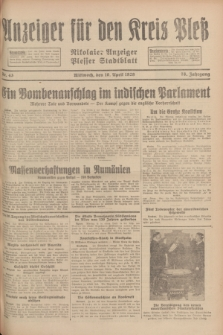 Anzeiger für den Kreis Pleß : Nikolaier Anzeiger : Plesser Stadtblatt. Jg.78, Nr. 43 (10 April 1929)