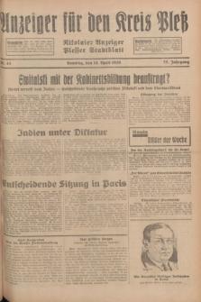 Anzeiger für den Kreis Pleß : Nikolaier Anzeiger : Plesser Stadtblatt. Jg.78, Nr. 45 (14 April 1929)