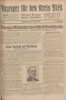 Anzeiger für den Kreis Pleß : Nikolaier Anzeiger : Plesser Stadtblatt. Jg.78, Nr. 46 (17 April 1929)
