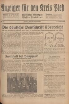 Anzeiger für den Kreis Pleß : Nikolaier Anzeiger : Plesser Stadtblatt. Jg.78, Nr. 47 (19 April 1929)