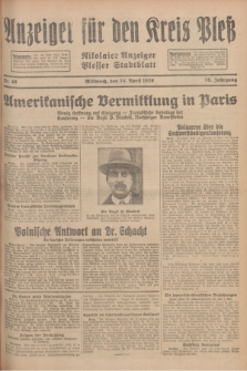 Anzeiger für den Kreis Pleß : Nikolaier Anzeiger : Plesser Stadtblatt. Jg.78, Nr. 49 (24 April 1929)