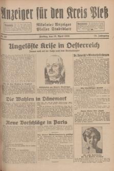 Anzeiger für den Kreis Pleß : Nikolaier Anzeiger : Plesser Stadtblatt. Jg.78, Nr. 50 (26 April 1929)