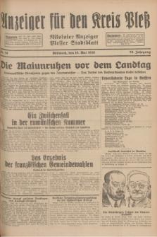 Anzeiger für den Kreis Pleß : Nikolaier Anzeiger : Plesser Stadtblatt. Jg.78, Nr. 58 (15 Mai 1929)